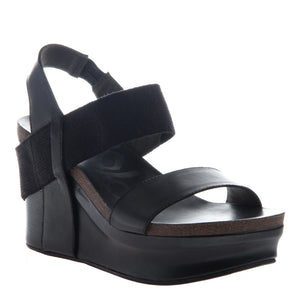 OTBT Bushnell Black Leather Sandal (Women)