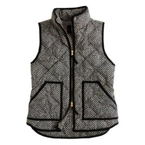 Katy Did Herringbone Print Quilted Vest (Women)
