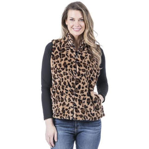 Katy Did Leopard Print Faux Fur Vest (Women)