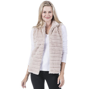 Katy Did Taupe Faux Rabbit Fur Vest (Women)