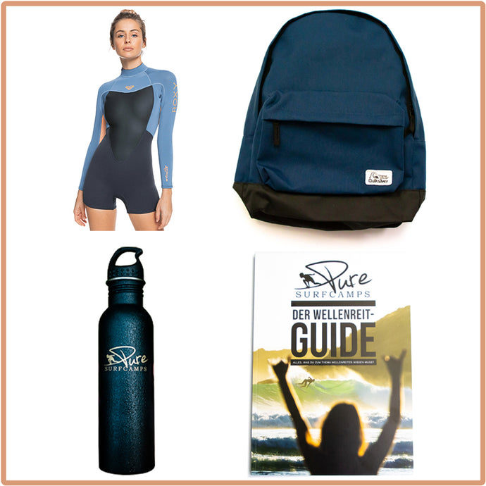 SurfPLUS SUMMER Package Roxy 2/2mm Shorty Wetsuit für Frauen
