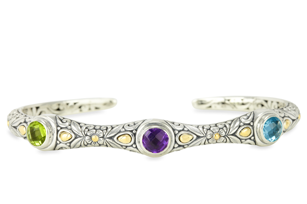 Multi Gemstone Sterling Silver Bangle with 18K Gold Accents