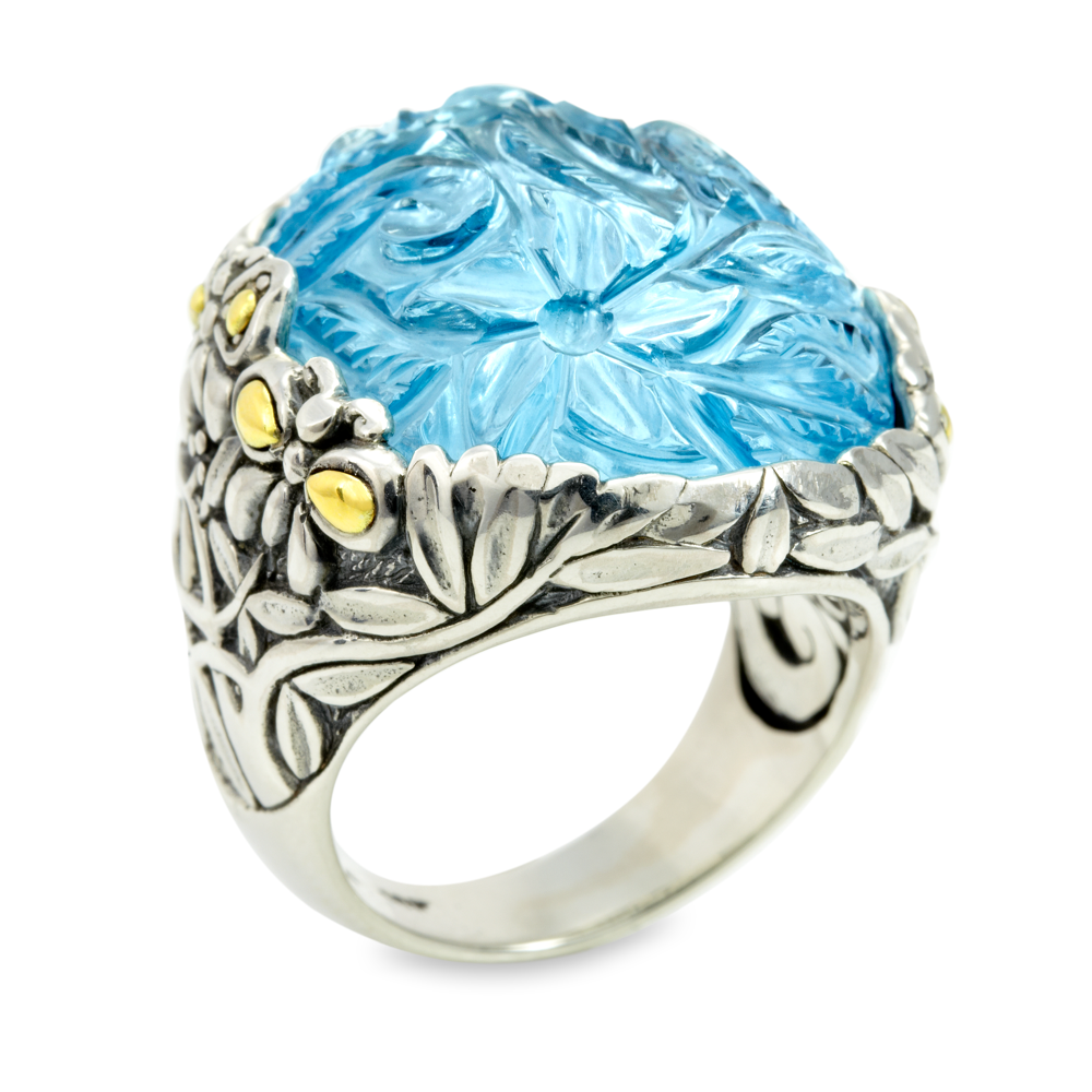 Carved Blue Topaz Sterling Silver Ring with 18K Gold Accents