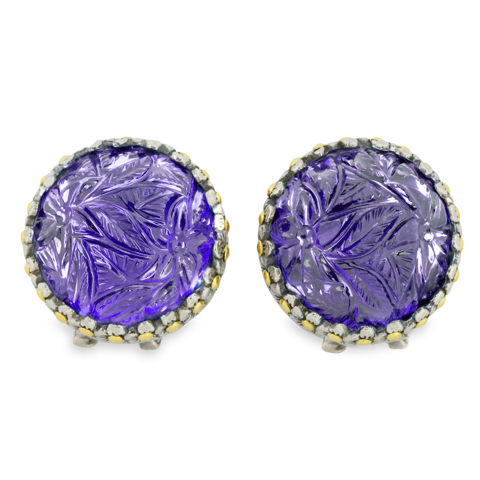 Carved Amethyst Sterling Silver Earrings with 18K Gold Accents