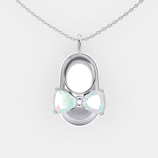 14K White Gold Diamond and Opal Baby Shoe Pendant