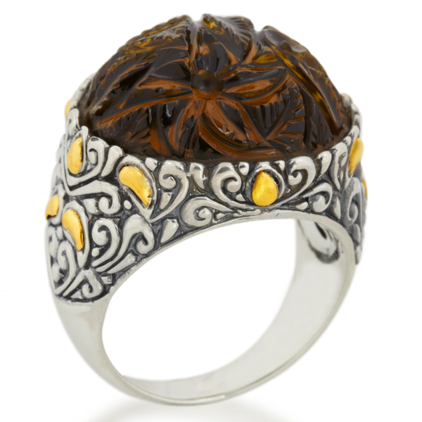 "Carved Round Cognac Quartz Ring Set in Silver & 18K Yellow Gold Accents ""Natalia"""
