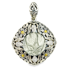 Diamond and Carved Green Amethyst Sterling Silver Pendant with 18K Gold Accents