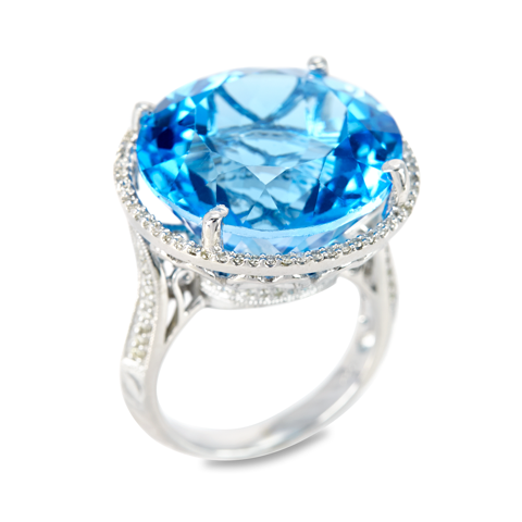 "14K White Gold Diamond and Blue Topaz Ring ""Emily"""