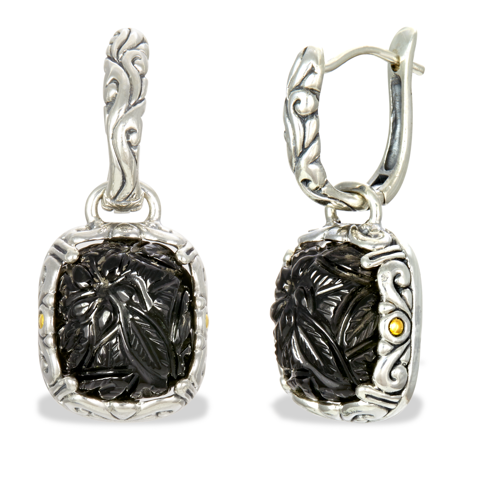 Carved Black Onyx Sterling Silver Earrings with 18K Gold Accents