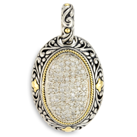 Diamond Pendant Set in Sterling Silver & 18K Gold Accents