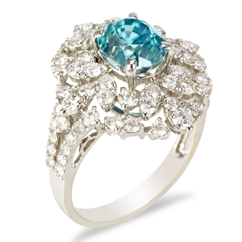 "18K White Gold Diamond and Blue Zircron Ring ""Xandria"""