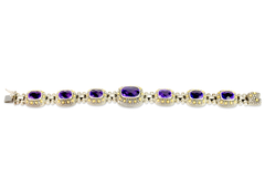 Amethyst Sterling Silver Bracelet with 18K Gold Accents