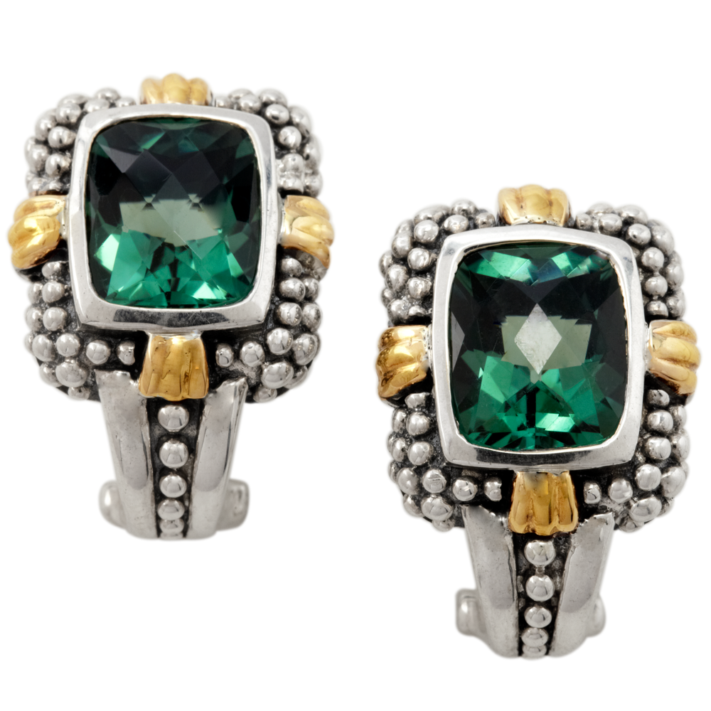 Green Quartz Sterling Silver Earrings with 18K Gold Accents
