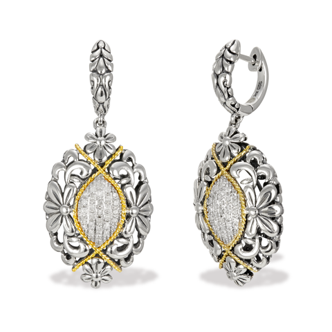 Diamond Sterling Silver Drop Earrings with 18K Gold Accents