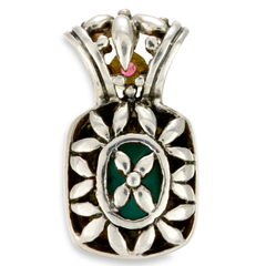 Turquoise and Pink Tourmaline Pendant Set in Sterling Silver & 18K Gold Accents