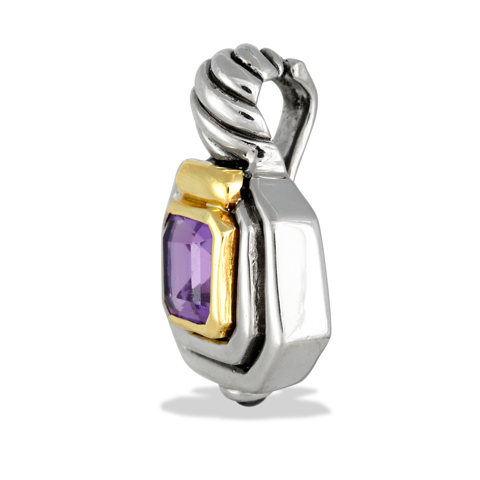 Amethyst Sterling Silver Pendant with 14K Gold Accents