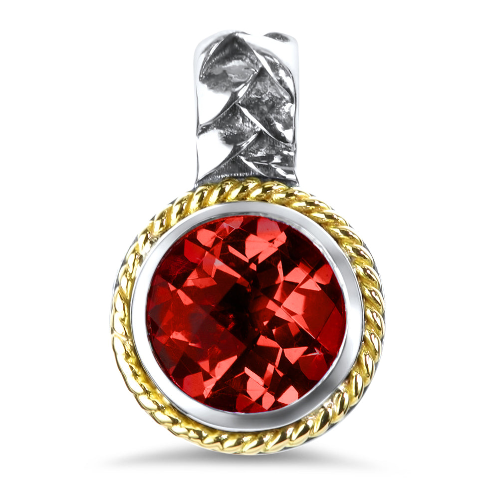 Garnet Sterling Silver Pendant with 18K Gold Accents