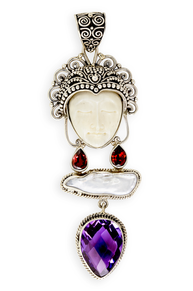 Bone, Garnet, Baroque Pearl and Amethyst Goddess Face Sterling Silver Pendant