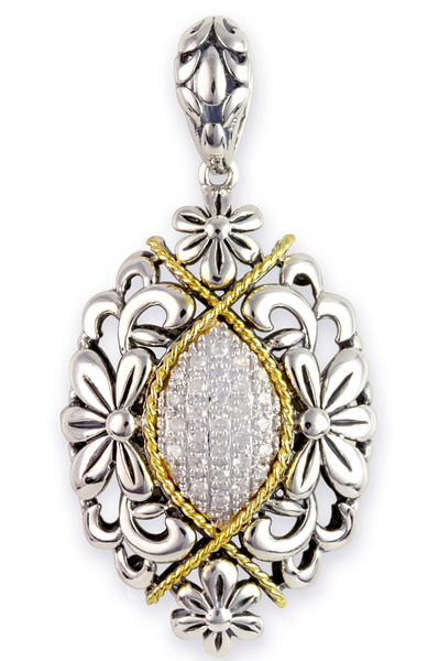 Diamond Sterling Silver Floral Pendant with 18K Gold Accents