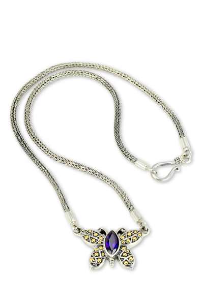 Amethyst Sterling Silver Necklace with 18K Gold Accents