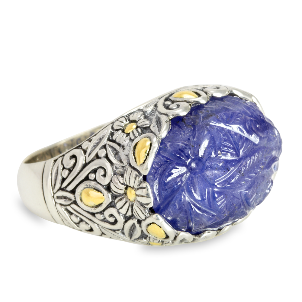 Carved Tanzanite Sterling Silver Ring with 18K Gold Accents