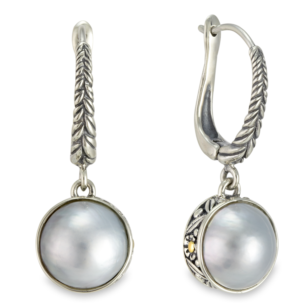 White Mobe Pearl Earrings Set in Silver & Yellow Gold Accents