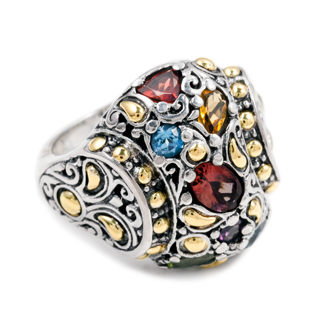 Multi Gemstone Sterling Silver Ring with 18K Gold Accents