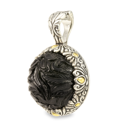 Carved Black Onyx Sterling Silver Pendant with 18K Gold Accents