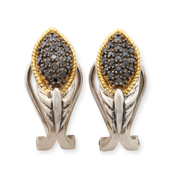 Black Diamond Sterling Silver Earrings with 18K Gold Accents