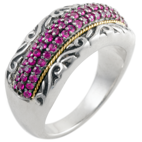Ruby Sterling Silver Ring with 18K Gold Accents