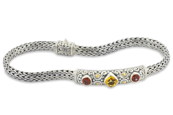 Citrine and Garnet Sterling Silver Woven Bracelet with 18K Gold Accents