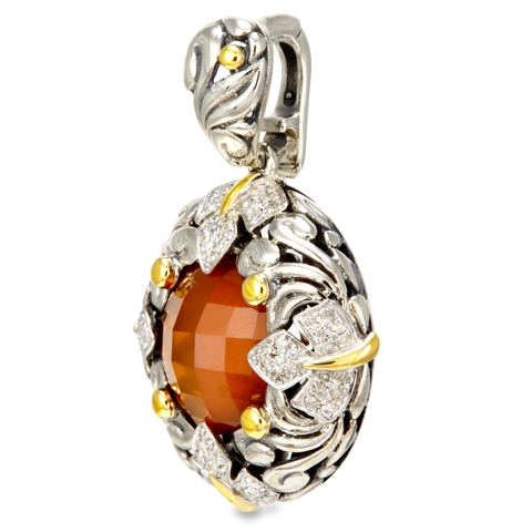Diamond, Carnelian and White Crystal Doublet Sterling Silver Pendant with 18K Gold Accents