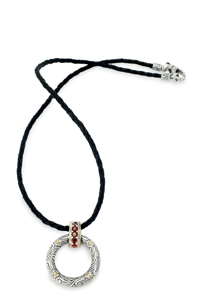 Garnet Sterling Silver and Leather Necklace with 18K Gold Accents
