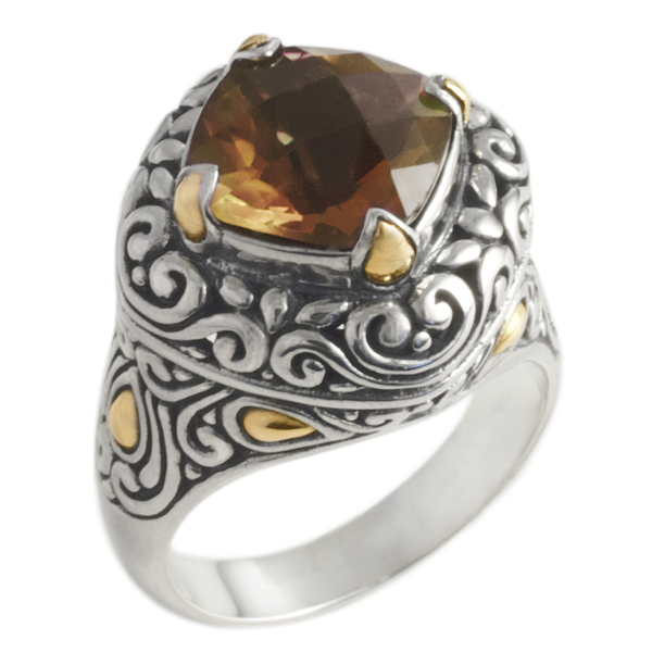 Citrine Ring Set in Sterling Silver & 18K Gold Accents