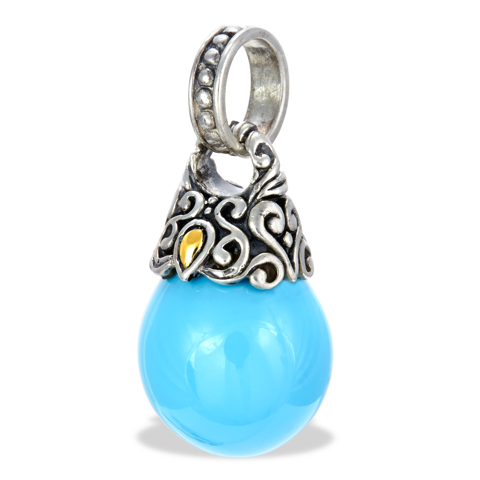 Turquoise Sterling Silver Pendant with 18K Gold Accents
