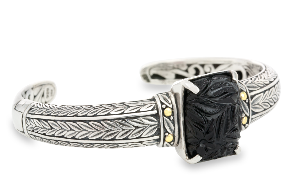 Carved Black Onyx Sterling Silver Cuff Bangle with 18K Gold Accents