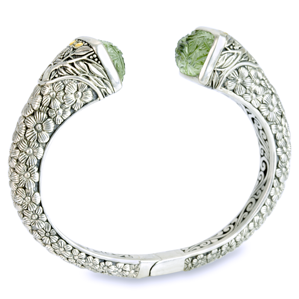 Carved Green Amethyst Sterling Silver Hinged Bangle with 18K Gold Accents