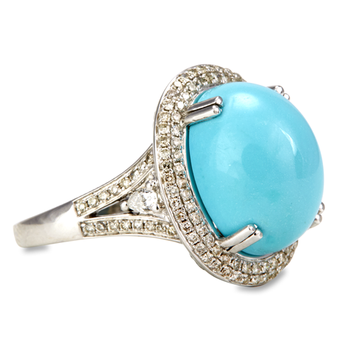 "14K White Gold Diamond and Turquoise Ring ""Lindsay"""