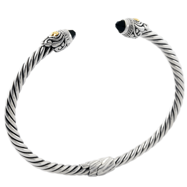 Black Onyx Sterling Silver Twisted Cable Bangle with 18K Gold Accents