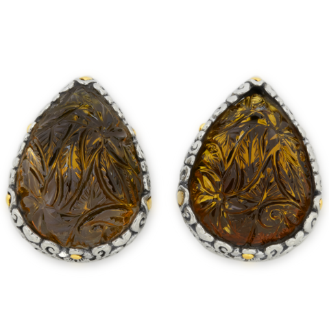 Carved Cognac Quartz Briolette Sterling Silver Earrings with 18K Gold Accents
