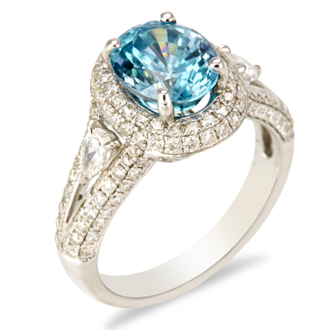 "14K White Gold Diamond and Blue Zicron Ring ""Madison"""