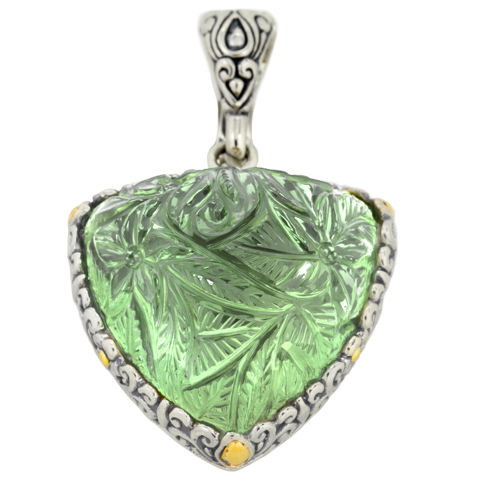 Carved Fluorite Sterling Silver Pendant with 18K Gold Accents