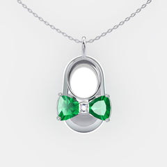 14K White Gold Diamond and Emerald Baby Shoe Pendant