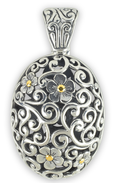 Sterling Silver Scrollwork Pendant with 18K Gold Accents