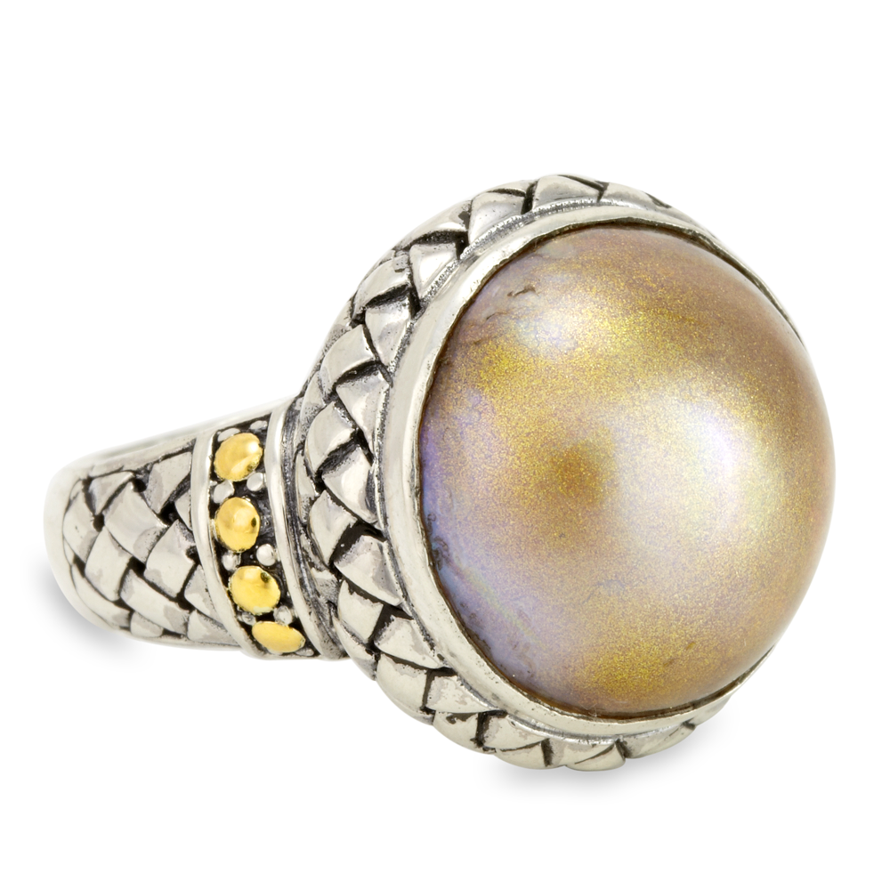 Yellow Pearl Sterling Silver Ring with 18K Gold Accents