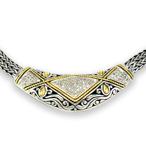 Diamond Sterling Silver Woven Necklace with 18K Gold Accents