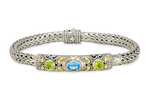 Blue Topaz and Peridot Sterling Silver Woven Bracelet with 18K Gold Accents