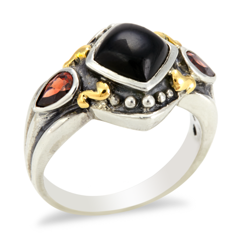 Sterling Silver Onyx and Garnet Ring with 18K Gold Accents