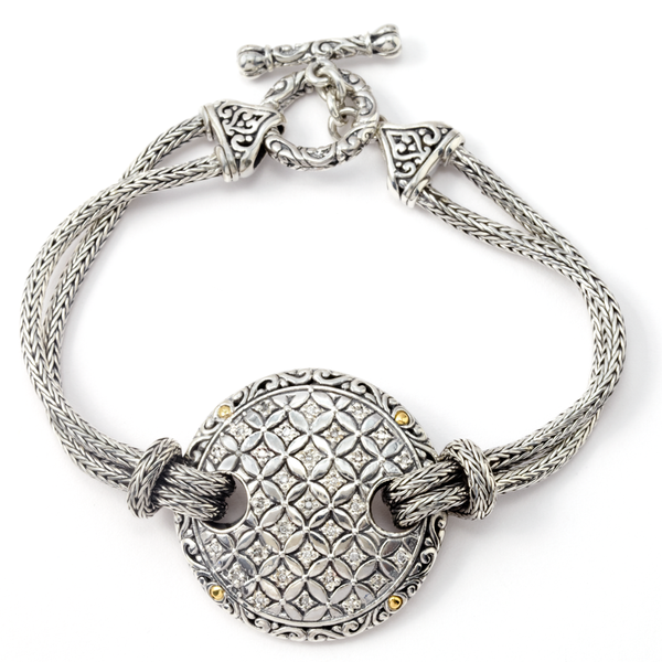 Sterling Silver Bracelet with Diamond and 18K Gold Accents