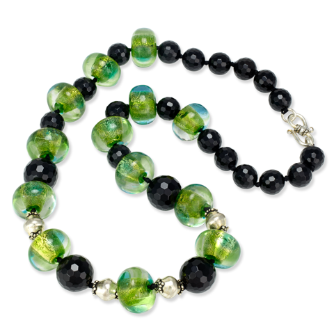 African Opal and Black Onyx Sterling Silver Necklace